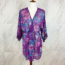 Womens In Bloom By Jonquil Graphic Roses Purple Surplice Neck Wrap Robe $58 Sz M