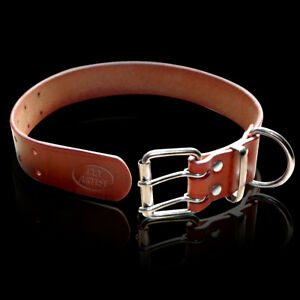 Best Real Leather Pet Dog Collars D-ring Jack Russell Rottweiler Pitbull XS-XXL