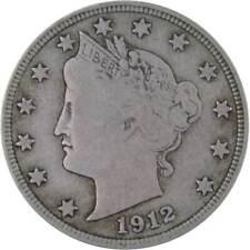 1912 D 5c Liberty V Nickel US Coin F Fine