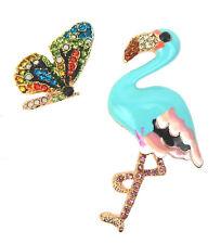 Brosche Flamingo + Schmetterling Set Strass Emaillie gold Ella Jonte Ziernadel