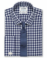 T.M.Lewin Non-Iron Fitted Navy Block Check Twill Shirt