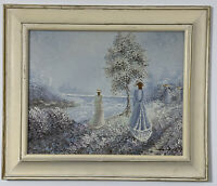 Signed Hancock Vintage Victorian Original Oil Painting 26 X 22 Wide Wood Frame