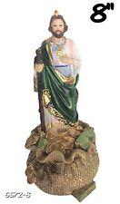 Saint Jude on Money Sack San Judas Tadeo St Statue Catholic Figure Figurine 8 In
