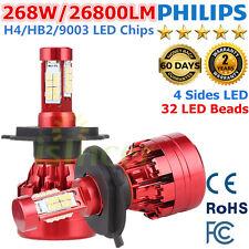 H4 268W 26800LM PHILIPS LED Headlight Kit Hi/Lo Beam Bulb White 6000K 9003 HB2 R