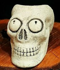 """Ceramic Figurine Ashtray Skull Chamotte Clay Material Height 3.15"""" Weight 23.9oz"""