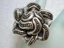 H~U~G~E Vintage Sterling Silver Marcasite Flower Ring size 6.5 16.65 grams