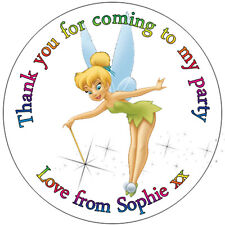35 x Personalised Tinkerbell Labels 37mm Stickers Party Seals sweet cone bags