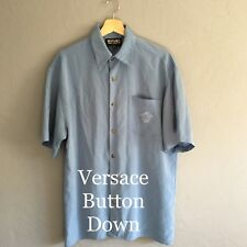 Versace Jeans Couture Microfiber Men's Medium Button-Down Embroidered Shirt