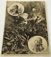 1881 magazine engraving~FRENCH COLUMN storming BRITISH REDOUBT~Revolutionary War