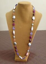 PRETTY VINTAGE LONG NECKLACE IN GLASS, BEADS & DIAMANTES DESIGN