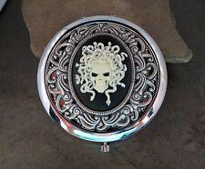 Handmade Victorian Oxidized Silver Skull Of Medusa Compact Mirror