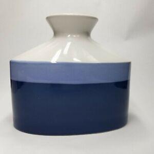 "Ceramic Oval Vase 7.5"" H x 8.5"" W Blue & Gray. Contemporary Décor."