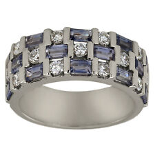 Wedding Band Diamonds And Blue Sapphire Baguettes In 18K White Gold Diamond Band