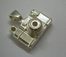 Hallmarked Sterling Silver Unusual Camera Pendant Necklace UK Seller