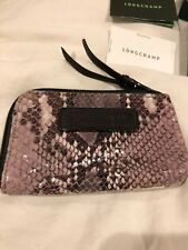 NWT LONGCHAMP Cuir De Veau Facon Python Zip around Wallet Calf Leather Gift Box