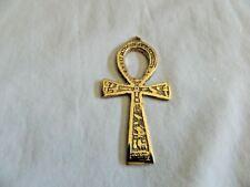 "Egyptian Pewter Brass Look Ankh Key of Life Engraved Hieroglyphics Pendant 3"""