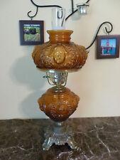 RARE Vintage Fenton Puffy Glass Lamp Autumn Decor Cherub GWTW Dark Amber