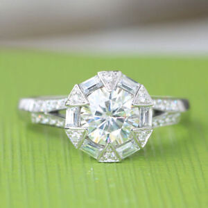 Moissanite Halo Engagement Ring 1.80Ct White Round Cut In Solid 14K white Gold