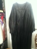 "Graduation Gown Robe 54"" XL Long Black School or COSTUME Zip Front Coat Unisex"