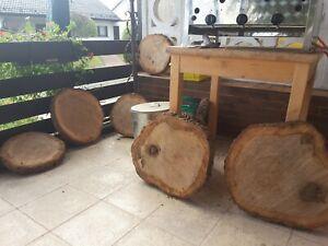 Holzscheibe Eiche Tisch  Stamm deko Hochzeit Baumscheibe 50 ×5
