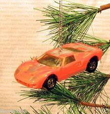 FORD GT-40 Race Car CHRISTMAS ORNAMENT Orange/Silver rare XMAS