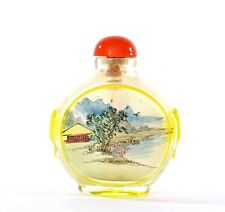 Vintage Chinese Inside Hand Painted Reverse Painting Glass Snuff Bottle Flower