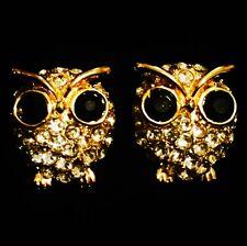 EARRING USING SWAROVSKI CRYSTAL GEMSTONE FASHION CUTE STUD GOLD OWL GOOD LUCK