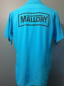 Vtg 50s 60s Blue Rayon Gabardine Bowling Shirt Mens M Rockabilly VLV Loop Collar