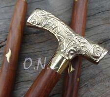 New listing Vioctorian Brass Designer Derby Head Handle Walking Stick Vintage Wooden Cane