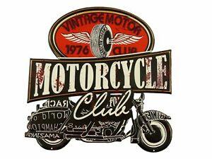 """Blechschild """"Vintage Motor"""" Bike Motorrad Club Garage Werkstatt 50x50 cm NEU"""