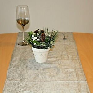 40cm x 230cm Silver Faux Silk Double-sided Table runner