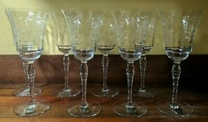 Queen Glass Company Cumberland MD Blown Wine Glass Stems Set Of 8 1932-45 Label