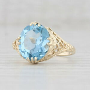 5.10ct Synthetic Blue Spinel Ring 10k Yellow Gold Size 8 Oval Solitaire