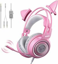 pink Gaming Headset With Mic Girls Cat Ear Wired Headphone PC XBOX PS4 Stereo