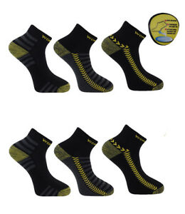 Mens Work Trainer Linear Socks with Cushioned Ultimate Re-inforced Heel and Toe