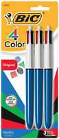 BIC 4 Color Ball Pen 4-in-1 Retractable Medium Black Red Blue Green Ink 3pk