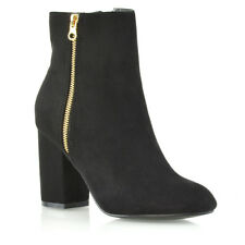 Womens Mid High Heel Ankle BOOTS Ladies Casual Party Zip Biker Shoes BOOTIES 3-8 UK 3 / EU 36 / US 5 Black Faux Suede