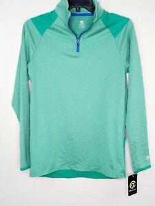 Champion C9 Duo Dry Boys' Green Heather Long Sleeve 1/4 Zip Athletic Tee New