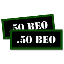 """.50 BEO Ammo Can 2x Labels Ammunition Case 3""""x1.15"""" stickers decals 2 pack"""