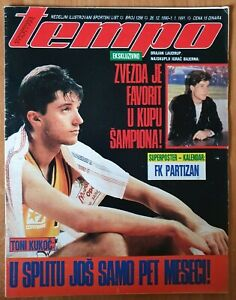 Magazine TEMPO 1296 basketball Toni Kukoc cover FC Partizan Belgrade poster 1990