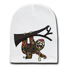 Zombie Sloth Funny Animal Zombie Cartoon White Beanie Skull Cap Hat Winter New