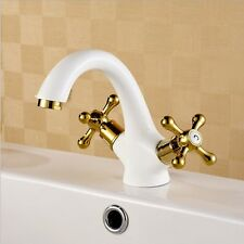 Bathroom Sink Faucet Cross Handle Contemporary Style Single Hole White With Gold