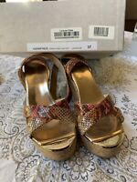Jimmy Choo Papyrus Snake Print Leather Wedge Sandals 37