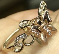 GOLD 14k BuTtErFlY ring yellow Rose simulated Diamond 7 5 6 7 8 9  2.2g