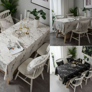 Marble Printed Tablecloth Cotton Linen Table Cloth Dustproof Kitchen Home Decor
