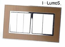 I LumoS AS Gold Satin Metal & White 13A UK Single/Double Socket & Light Switches