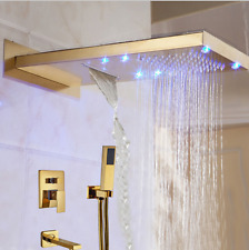 "LED Gold Brass 22"" Rain Shower Faucet Set Wall Bath Tub Mixer Tap W/Hand Shower"
