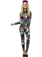 Women's Fever Day of The Dead Halloween Floral Catsuit and Rose Headband 3 Sizes M