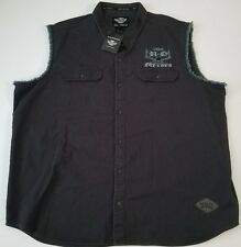 NWT Harley Davidson Motorcycle Sleeveless Button Up Vest Black Shirt Size 5XL