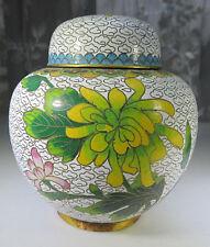 """Vintage Cloisonne Enamel Brass Floral & Bird Design Ginger Tea Jar 4"""""""
